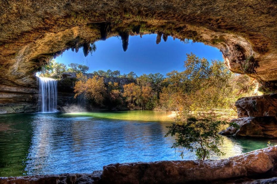 Welcome to Dripping Springs-the Gateway to the Hill Country! Located twenty-five miles west of Austin and an hour and a half from San Antonio, this little town offers abundant natural beauty and plenty of outdoor activity. Start with Dripping Spring's most popular attraction- Hamilton Pool Preserve. This natural wonder was created over 8000 years ago by a subterranean river collapse creating the magnificent fifty foot waterfall and grotto enjoyed today. The park limits the amount of people at the pool at one time, therefore reservations are required during the peak summer months.