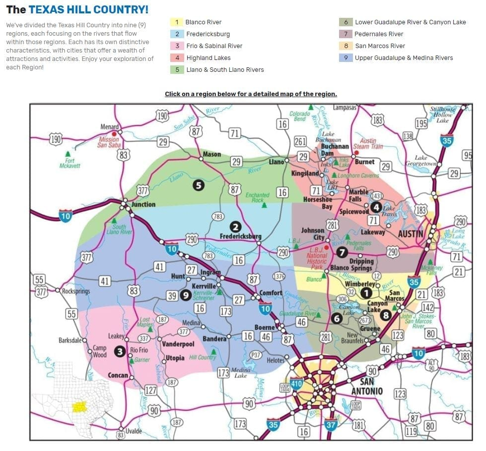 Map of Texas Hill Country