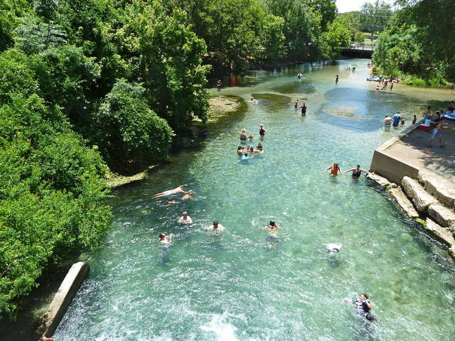 Crystal clear and calm water on the San Marcos River in the Texas Hill Country