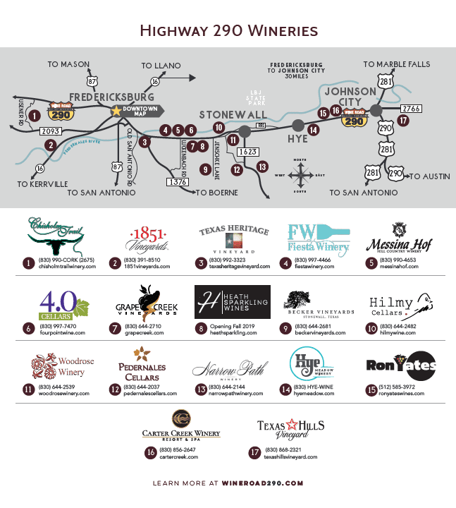We have wineries along scenic Highway 290 and Downtown Fredericksburg