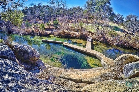 This karstic spring remains at 70 degrees all year. Visitors are welcome to jump into the water (at their own risk!).