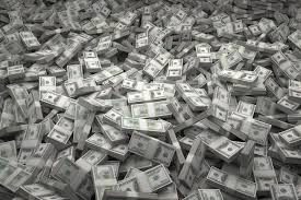 Piles of US Currency which can come from property management companies.